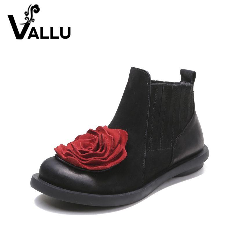 2018 Grande Fleur Rouge Femmes Bottes Vache Suede Ronde Orteils Cheville Bottes Talons Plats Chaussures À La Main Vintage Bottes