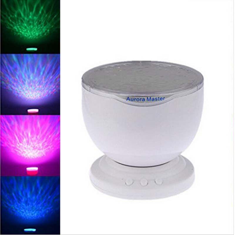 Aurora maestro 7 colores de luz LED de la lámpara de la onda del océano Relax proyector LED lámpara de luz nocturna de música MP3 Speaker Input