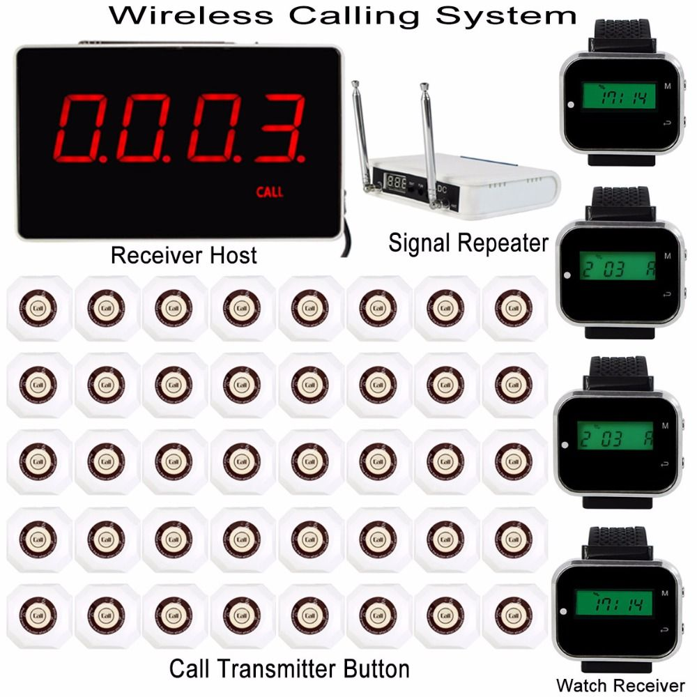 Wireless Restaurant Pager Calling System With Receiver Host+4pcs Watch Receiver+Signal Repeater+40pcs Call Transmitter F3293B2