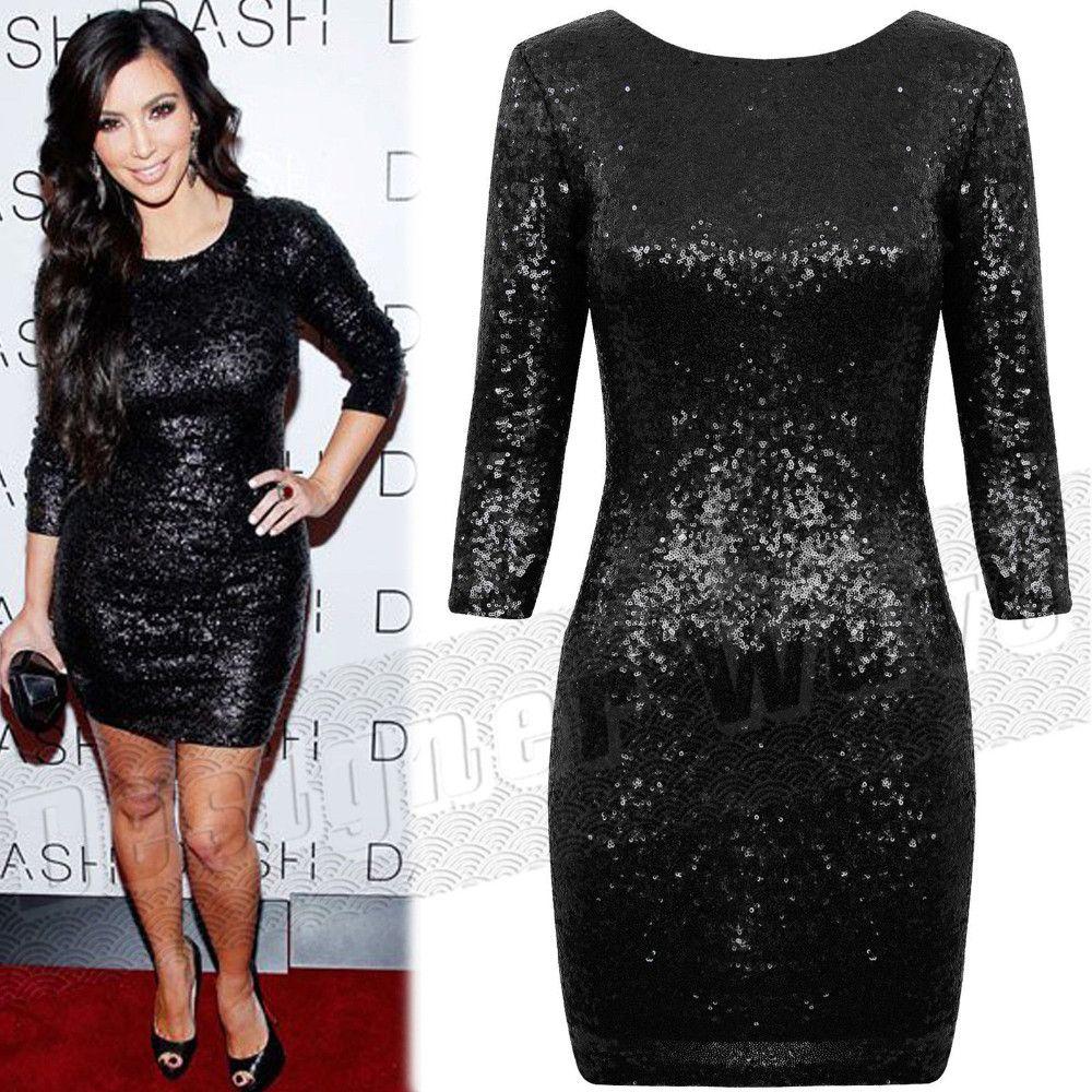 Célébrité Style Kim Kardashian brillant robe à paillettes dos ouvert Sequin Sexy moulante soirée soirée Club robe noir rouge xxl