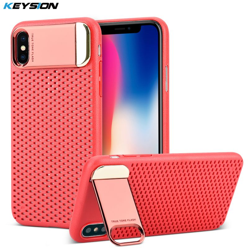 KEYSION Zinc Alloy Kickstand Case For Apple iPhone X Honeycomb Hollow Heat Dissipation Stand Cover Armor Case For iPhone 10 iX