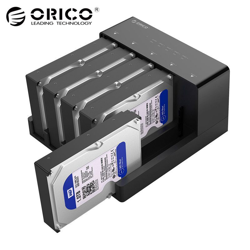 ORICO 2.5 3.5 SATA HDD Docking Station Super Speed USB 3.0 Hard Drive Enclosure Support 10TB 5 Bay Offline Clone black 6558US3-C