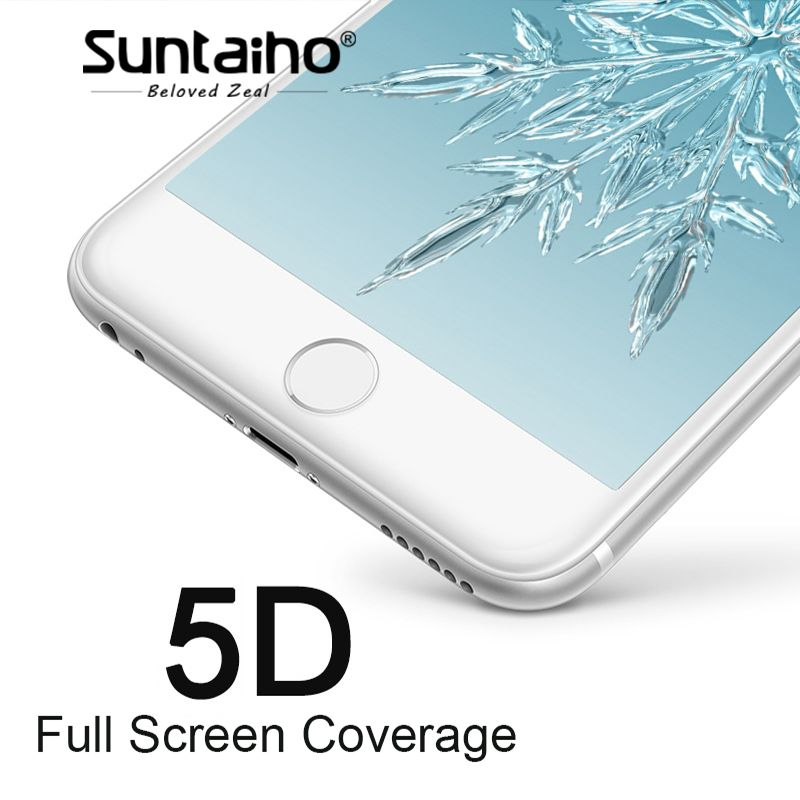 Suntaiho 5D Cold Carving Full Cover Tempered Glass For iPhone 7/8 plus 9H 3D/4D Curved Edge Screen Protector For iPhone 6s plus