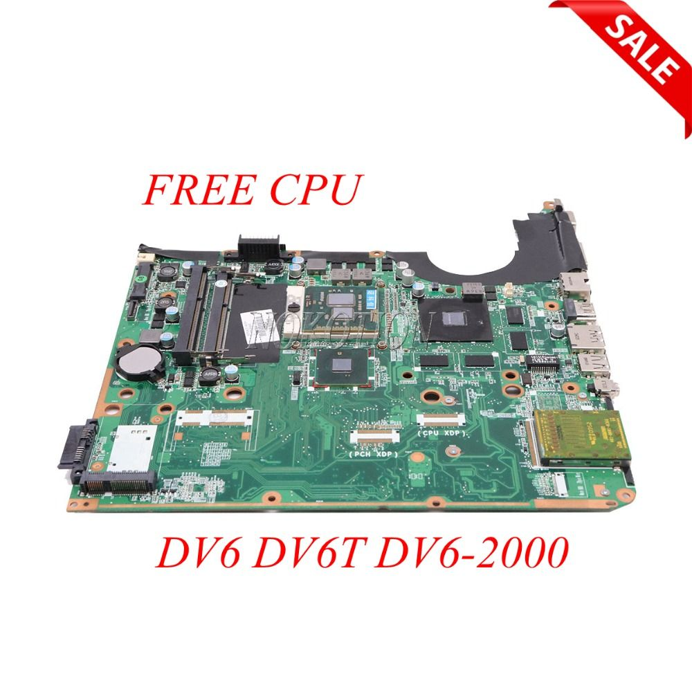 NOKOTION 605704-001 DA0UP6MB6F0 Laptop Motherboard For HP Pavilion DV6 DV6T DV6-2000 1GB video card DDR3 Main Board Free CPU