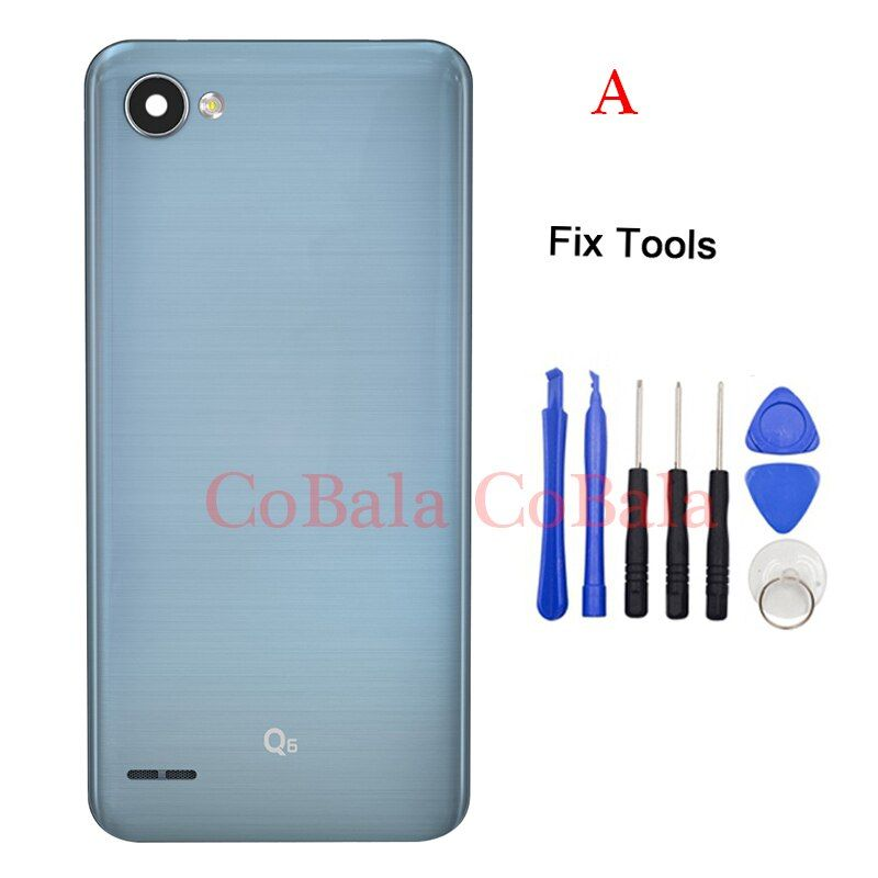 LOVAIN 1Pcs For LG Q6 Plus Q6+M700 M700N M700A Back Battery Cover Rear Door Housing+Camera Lens Flash Crystal+Adhesive Sticker