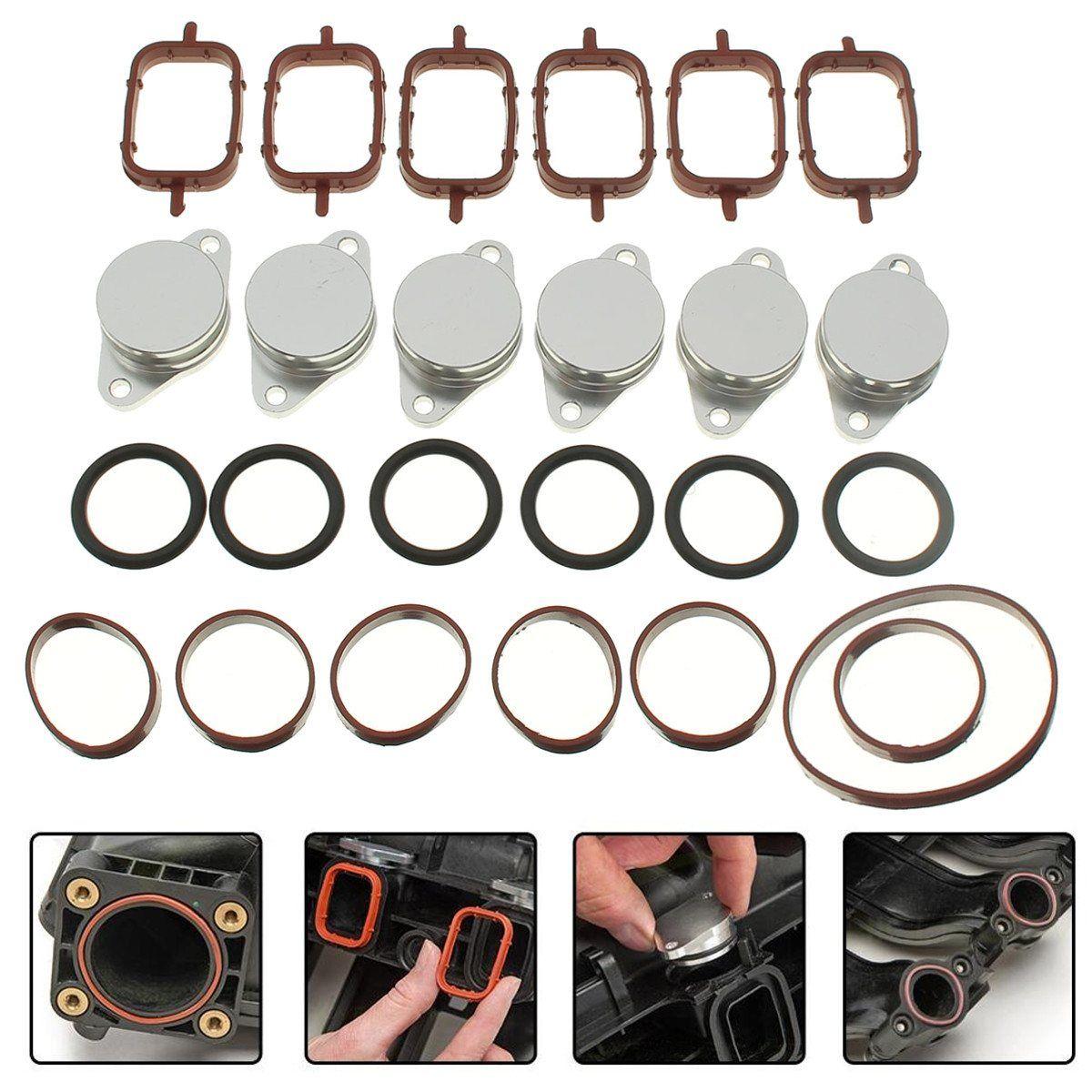 6x 32-33mm Swirl Flap Blank Bungs Mit Saugrohr Dichtungen Für BMW E38 E39 E46 E53
