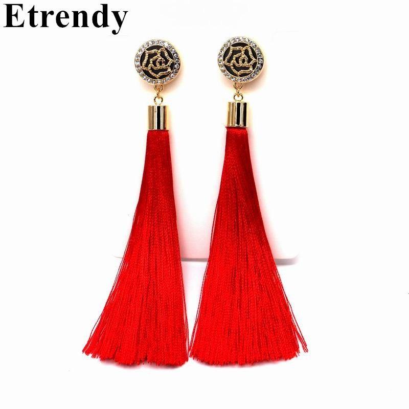 Цветок Дизайн Красный кисточкой длинные серьги для женщин Мода 2017 г. Jewelry Bijoux цвет: черный, синий Цвета Изысканные Подарки