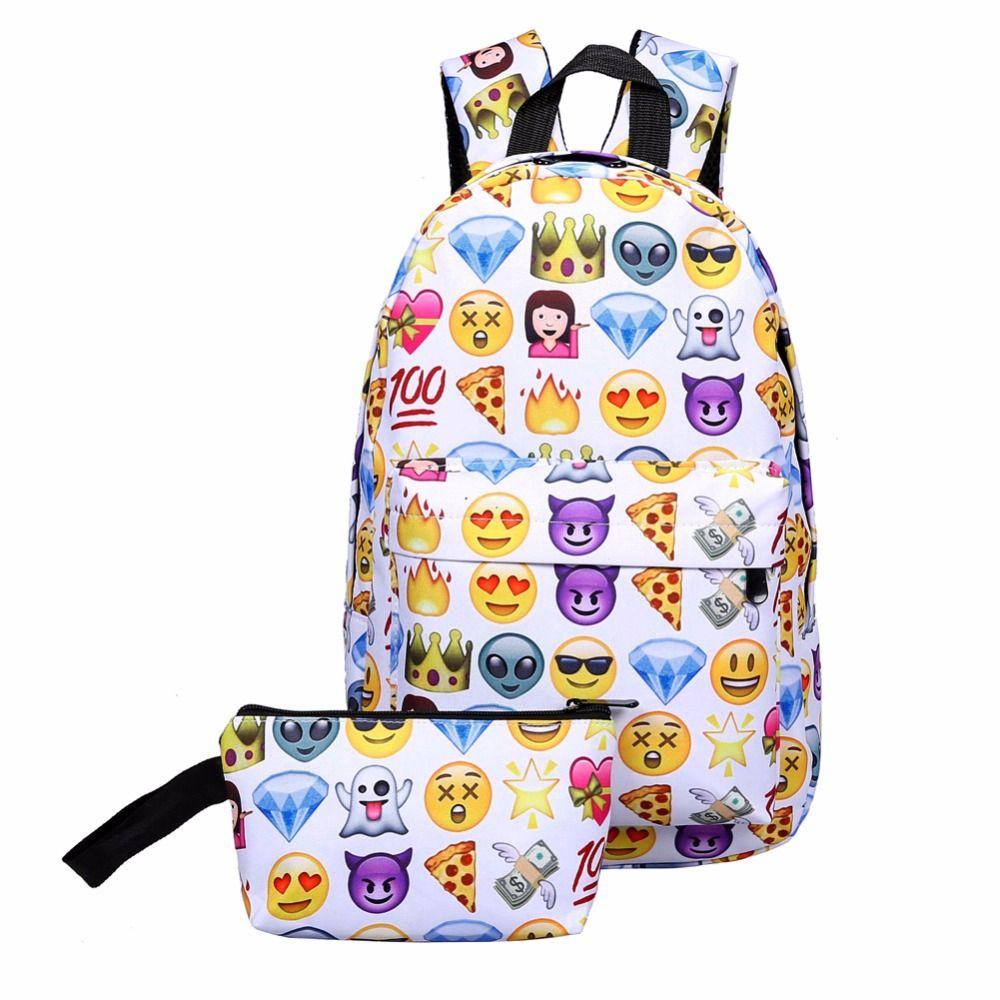 2 Teile/satz 3D Smiley Emoji Rucksack Nylon Druck Rucksack Tasche Schultaschen Rucksack Für Jugendliche Wasserdichte Rucksack Mochila 2017