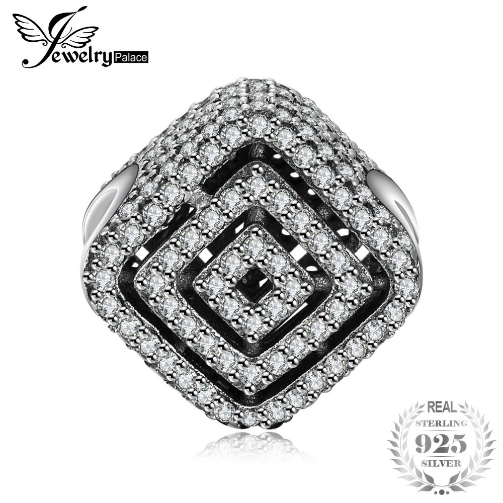 Jewelrypalace 925 Sterling Silver Rectangle Maze Cubic Zirconia Beads Charms Fit Bracelets Gifts For Her Fashion Jewelry Present