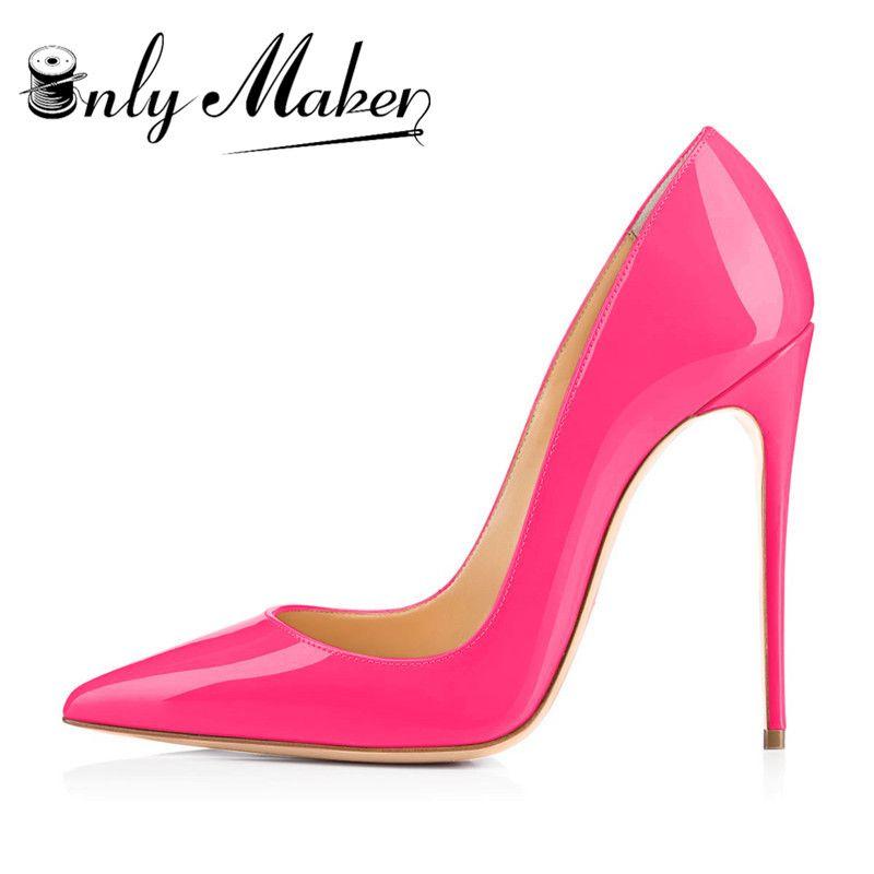 Onlymaker femmes chaussures 12 cm talons hauts Stiletto bout pointu en cuir verni noir rouge chaussures Plus de grande taille pompes de mariage marque
