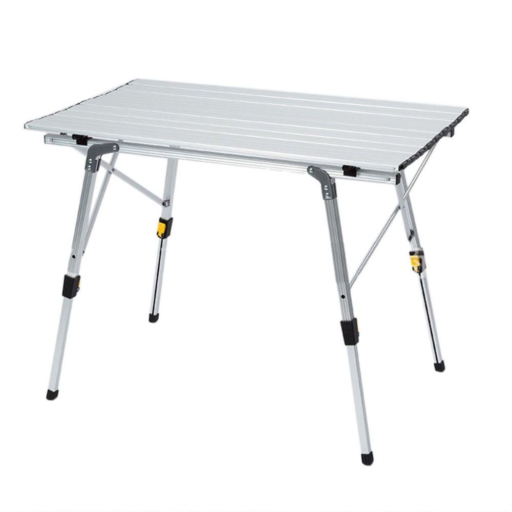 Oro De Aleación De Aluminio Plegable Mesa portátil Para Acampar Al Aire Libre Ultraligero Plegable Mesa de Picnic Mesa Plegable Para Ir de Excursión de Picnic