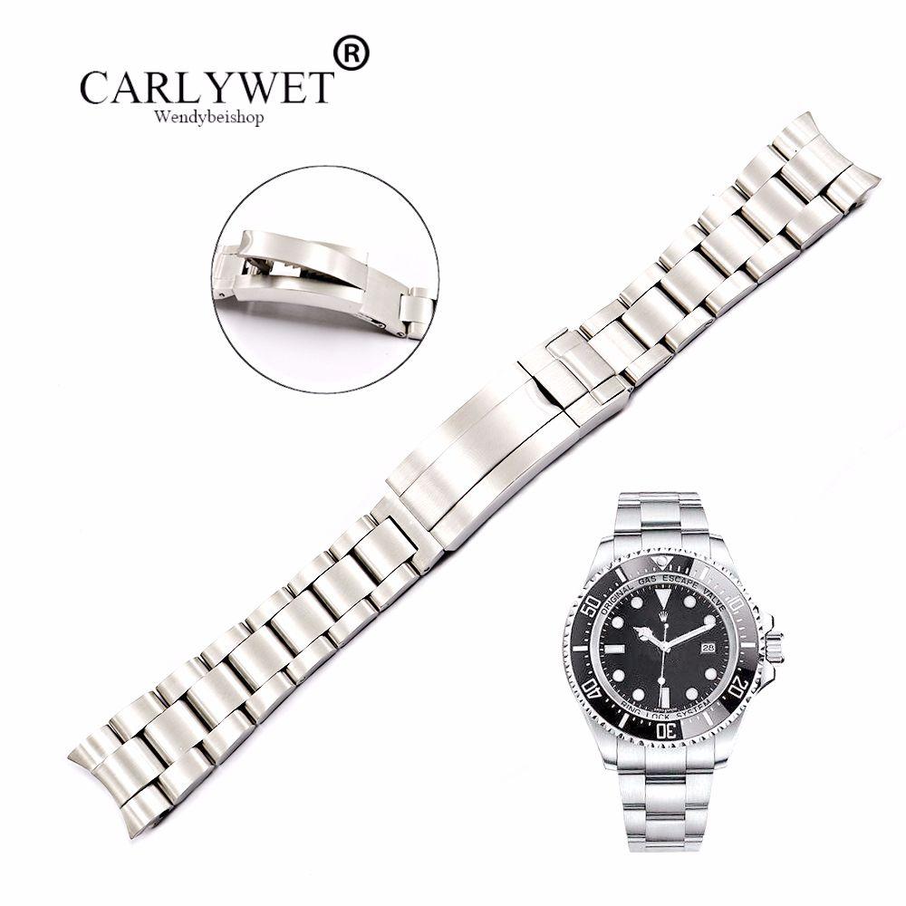 CARLYWET 20 21mm solide extrémité incurvée en acier inoxydable vis liens poignet Bracelet de montre Bracelet glisse Flip serrure fermoir pour huître Deepsea
