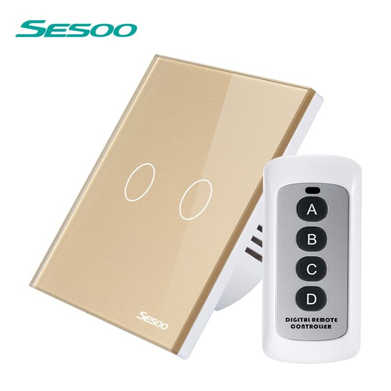 SESOO Wireless Light Touch Switch 220V, 2 Gang 1 Way RF433 Remote Control Switch with Remote Controller SY3-02-RFL
