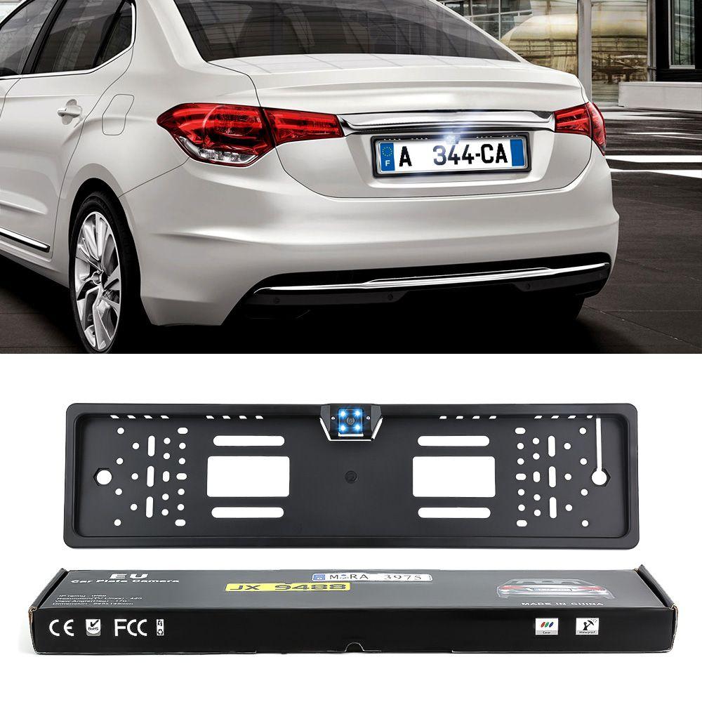 Auto Parktronic EU cadre de plaque d'immatriculation de voiture HD Vision nocturne caméra de recul caméra arrière avec 4 lumière LED