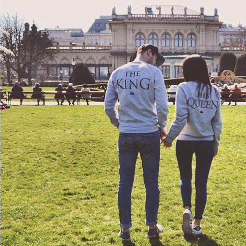 Haute Qualité 2018 Nouvelle Mode Amateurs Occasionnels Hoodies À Manches Longues Lettre Le Roi Sa Reine Imprimer Gris Sweat Pull XS-XXXL