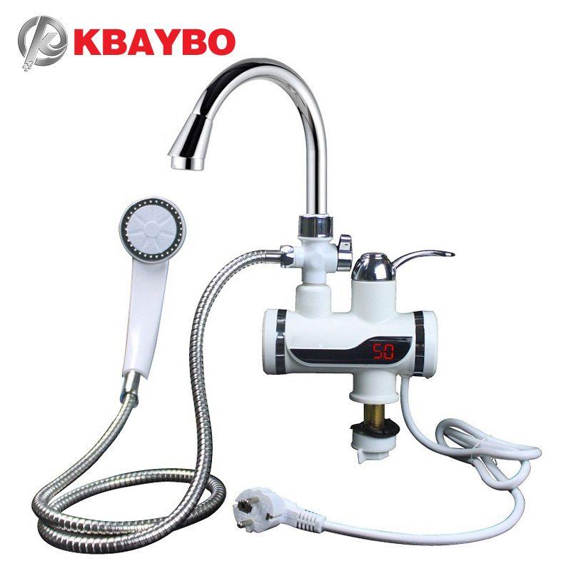 KBAYBO 3000 W chauffe-eau salle de bains cuisine instantanée chauffe-eau électrique robinet LCD affichage de la température robinet sans réservoir