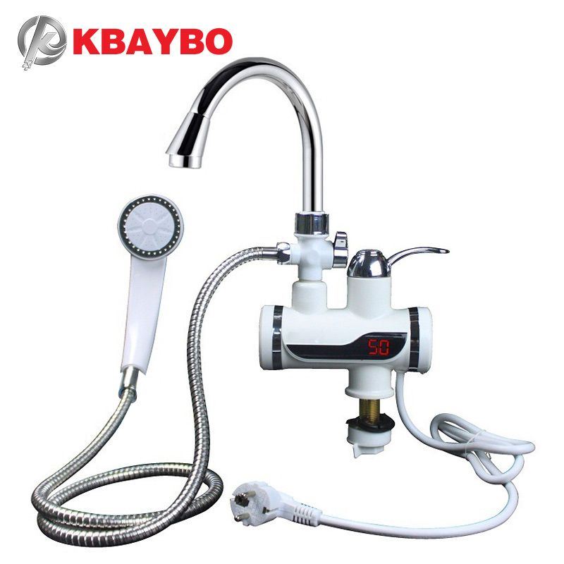 KBAYBO 3000W Water Heater Bathroom Kitchen <font><b>instant</b></font> electric water heater tap LCD temperature display Tankless faucet