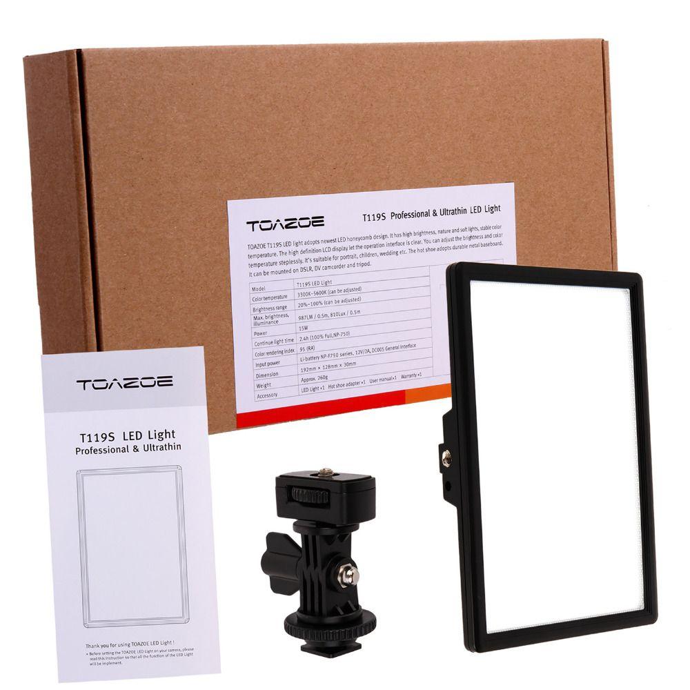 TOAZOE T119S Ultra-mince LED lumière vidéo photographie lumière de remplissage 3300 K-5600 K CRI95 + pour Canon Nikon Sony Panasonic appareil photo reflex numérique