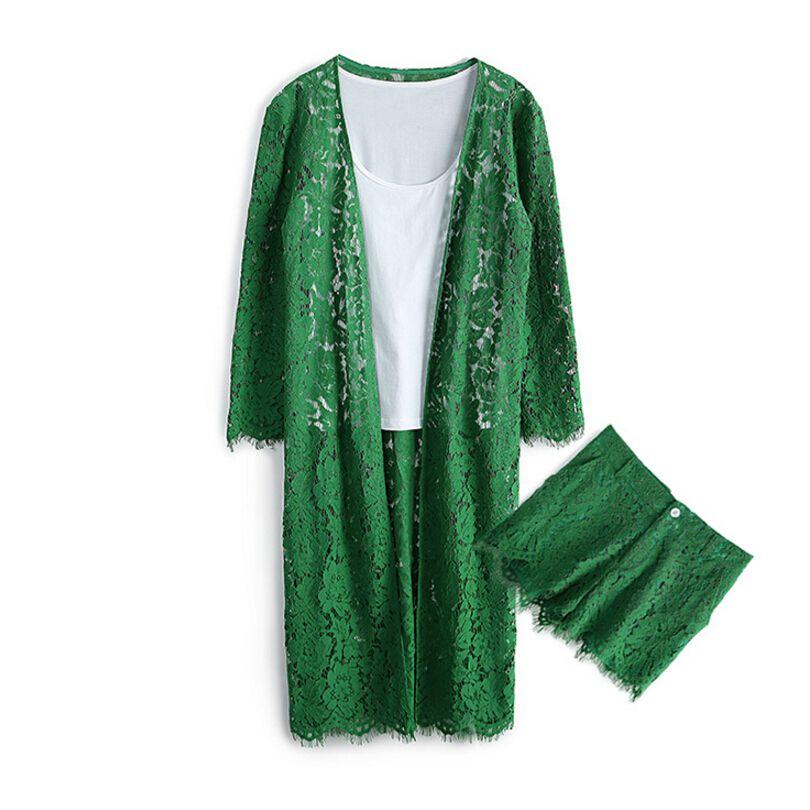 2019 costumes pour femmes printemps été femmes ensemble Fitness vêtements dentelle manteau + blanc gilet + femmes Shorts costume ensemble dames rose vert