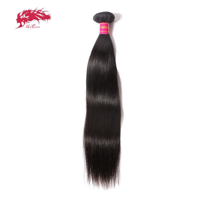 Ali Queen Hair Brazilian Virgin Hair Straight Bundles Natural Black Color 100% Human Hair Weaving 8inch to 38inch Free Shipping