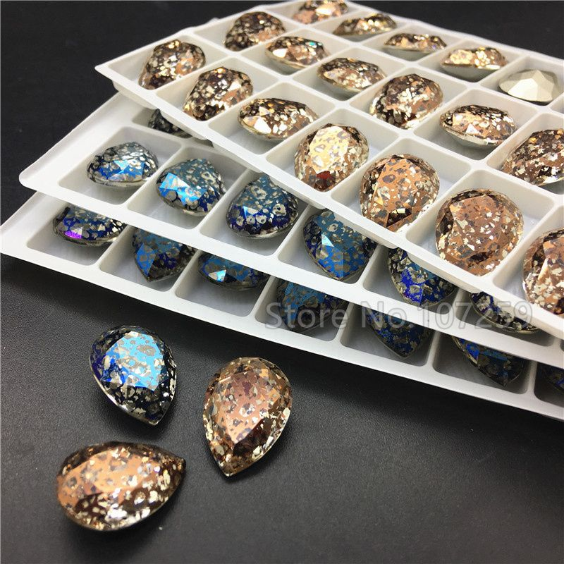 TopStone New Color Crystal Patina 13X18mm K9 Glass Teardrop Pointback Fancy Stone Droplet Crystal Rhinestone