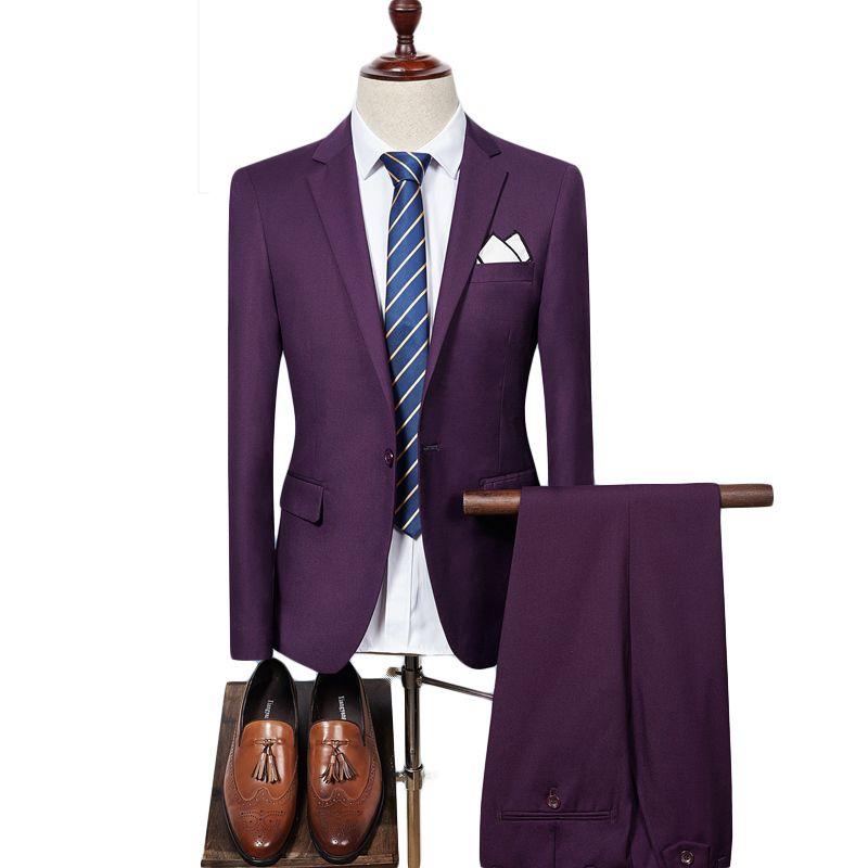 Mens Suit 2018 Slim Fit Men Wedding Coat Pants Formal Wear Luxury Purple Suits For Men Blue Black Gray Red Q320