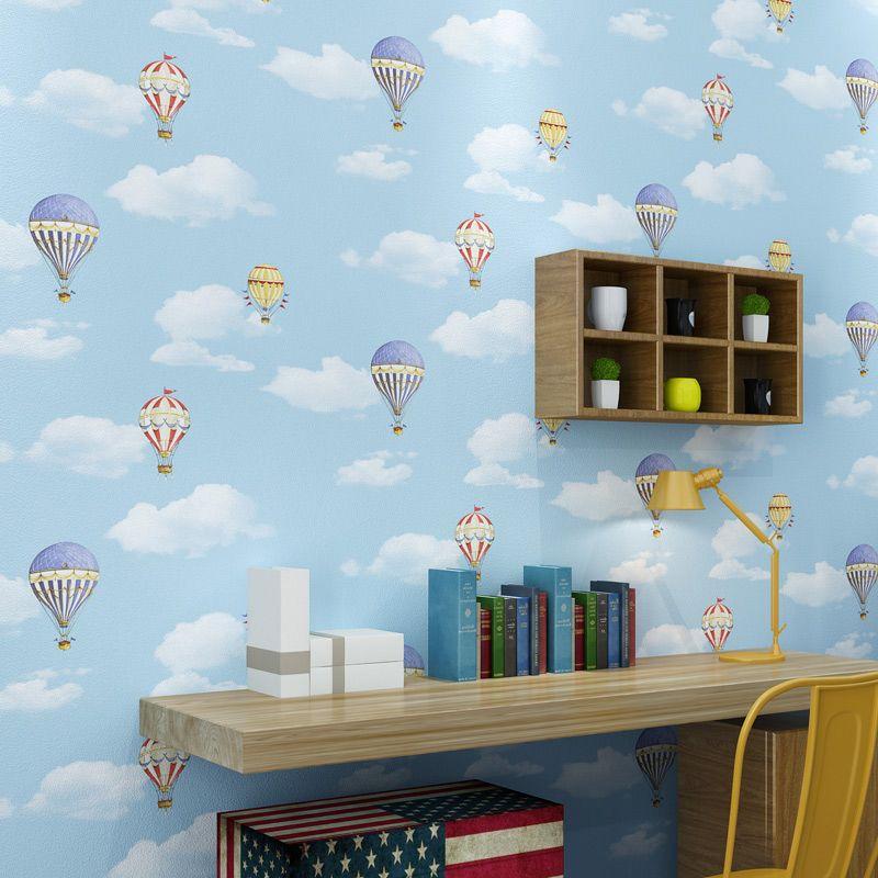 Romantische Cartoon Blauen Himmel Weiße Wolken Heißer Luft Ballon Kinder Zimmer Schlafzimmer Wand Dekor PVC Wearable Wasserdichte Vinyl Tapete