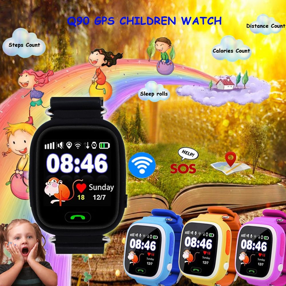 Q90 GPS Kid Smart Watch Baby Anti-lost Watch GPS Location Tracker SOS Phone Fitness Sleep Pedometer Tracking Screen Touch#C1