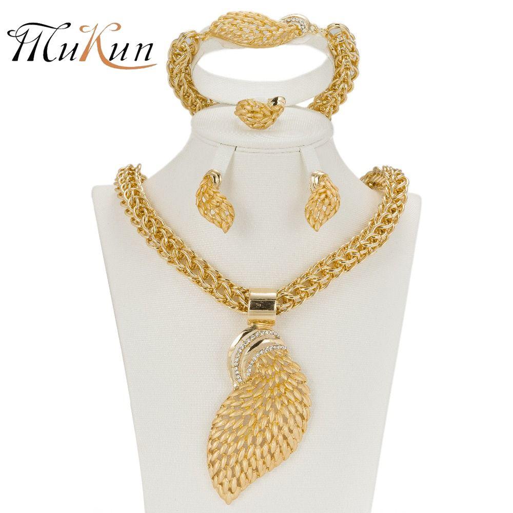 MUKUN Frauen Schmuck Sets Gold farbe Fashion Statement Halskette Dubai Brautmode Party Hochzeit Afrikanische Perlen Zubehör
