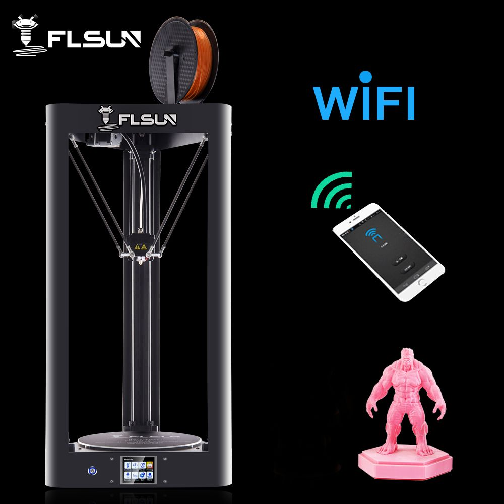 <font><b>High</b></font> Speed Flsun QQ 3D Printer Auto-Level Large Size Pre-assembly Delta 3D Printer HeatBed Touch Screen Wifi Module Power Resume