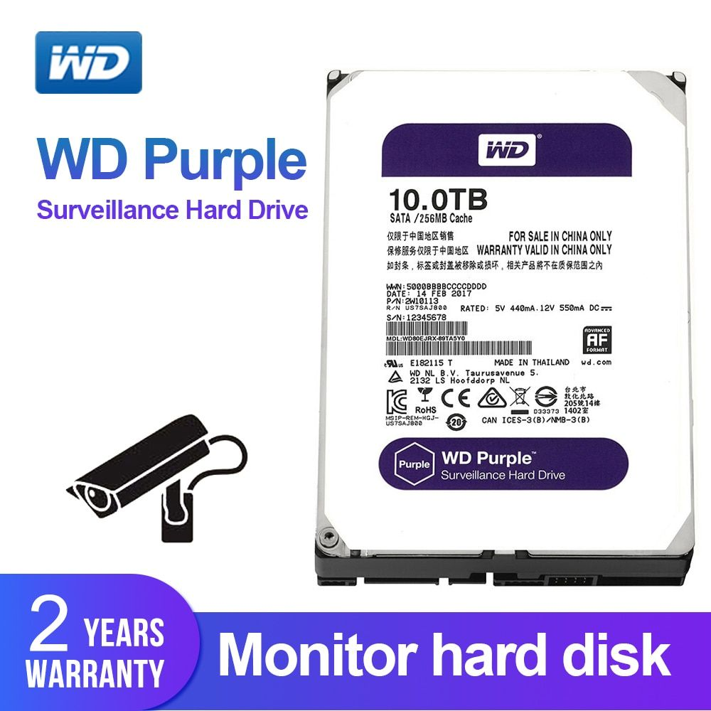 Western Digital WD Lila 10 TB Überwachung HDD 256 MB SATA 6 Gb/S 3,5 Interne Festplatte für video recorder WD100EJRX