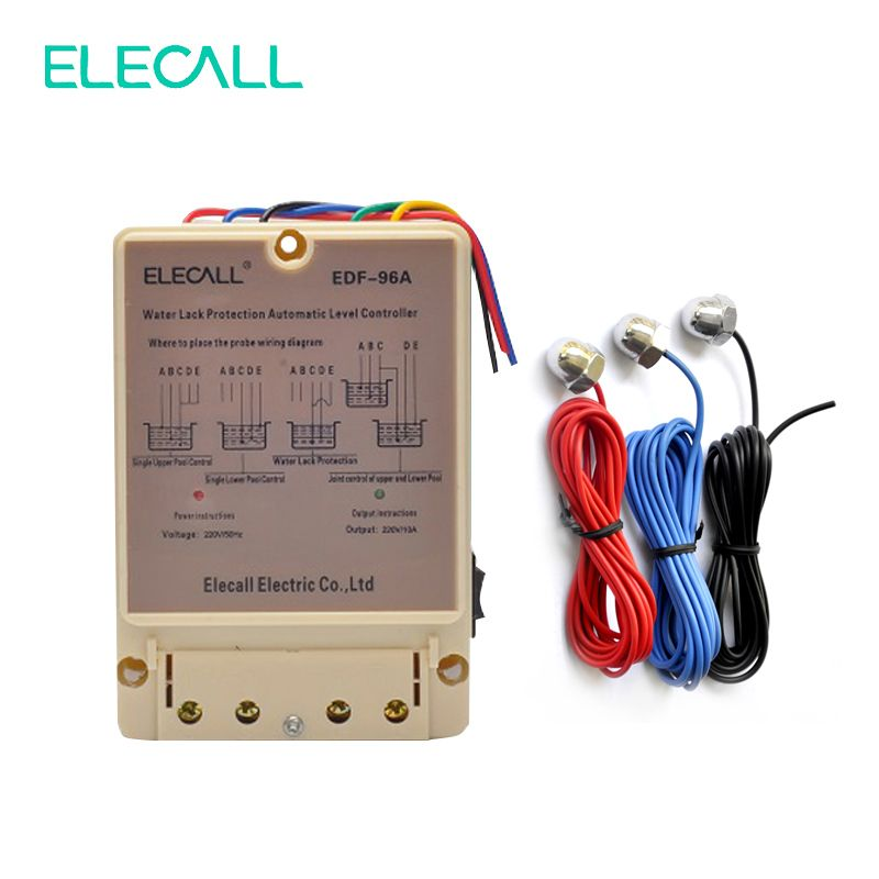 ELECALL EDF-96A Water Automatic Level Controller 10A 220V Electronic Water Liquid Level Detection Sensor Water Pump Controller