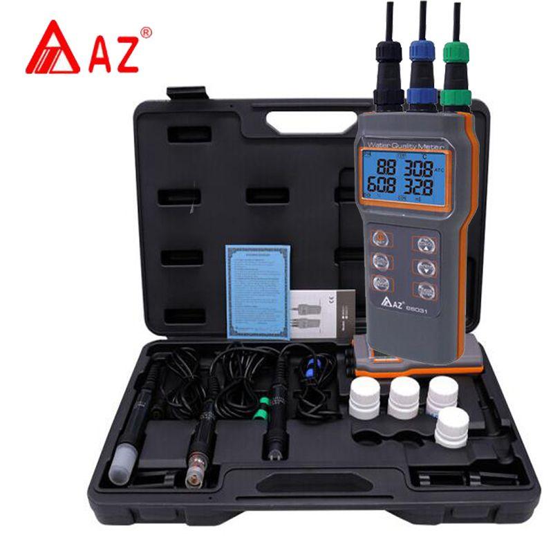 AZ86031 Digital PH-Meter Wasser Qualität Meter Gelöst Sauerstoff Tester PH Meter PH-Leitfähigkeit Salzgehalt Temperatur Meter