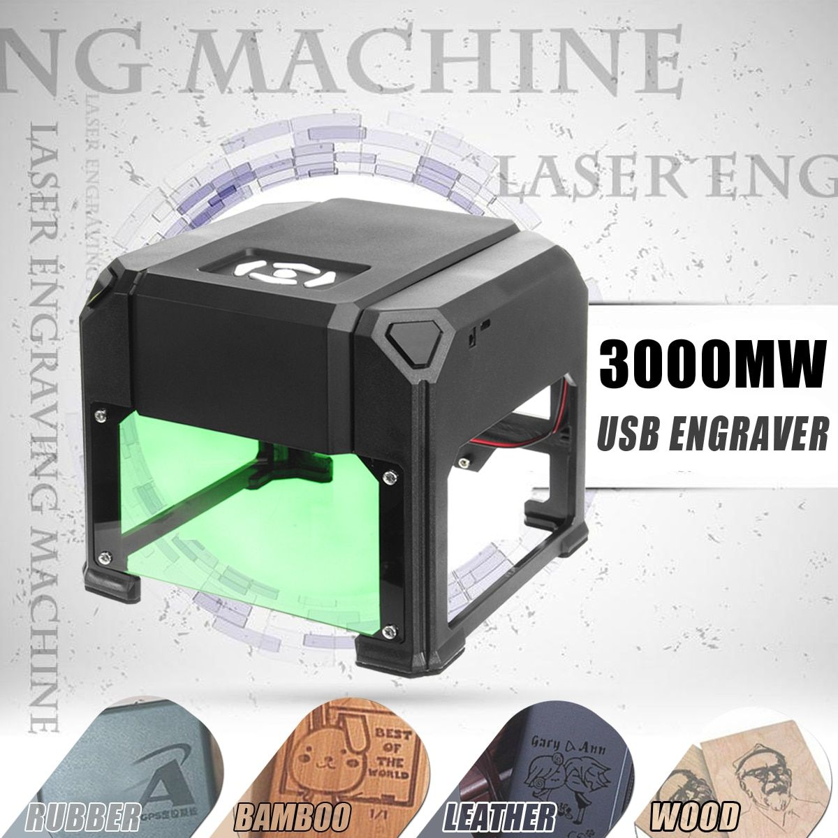 3000 mw USB Desktop Laser Stecher Maschine 80x80mm Gravur Palette DIY Logo Mark Drucker Cutter CNC Laser carving Maschine