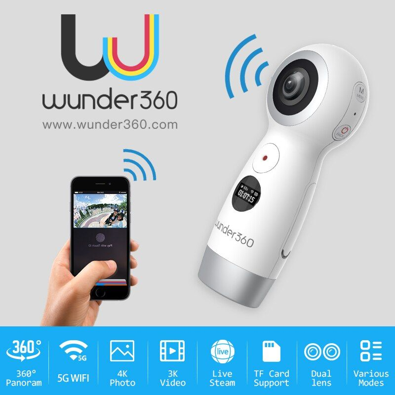 Wunder360 360 Degrees Panoramic VR 360 Camera Dual Lens Panoramic Camera 4k HD Wifi Mini 4K HD kamera Live Streaming Micro USB