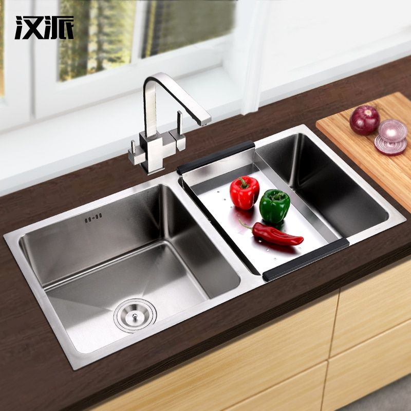 304 stainless steel kitchen sink two-groove xiancai basins Wash bowl tub wash dish pool thickening tank by hand big bowl