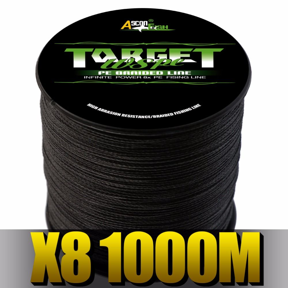 Ascon Fish 8 Strands Braided Fishing Line 1000m Super Strong 8 Braid Wire for Carp Fishing Multifilament Line 6-300LB Green