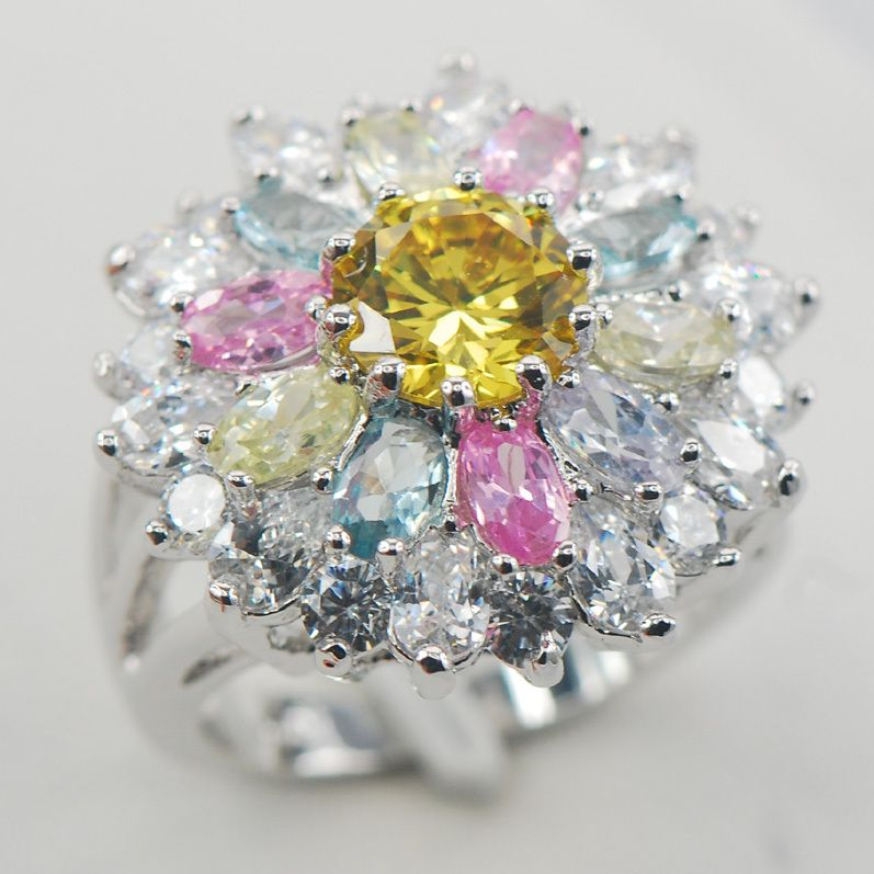 Blue Pink Crystal Zircon Morganite 925 Sterling Silver Ring Size 6 7 8 9 10 11 A01