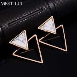 MESTILO Brand Punk Design Fashion Square Triangle Round Geometric Faux Stone Stud Earring Women Party Jewelry pendientes brincos