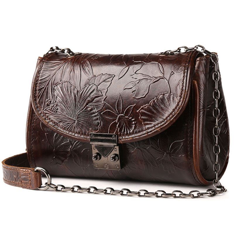 Vintage Trend National Style Women Oil Wax Genuine Leather Cowhide Embossed Casual Cross Body Shoulder Bags 2018 Famous Brand