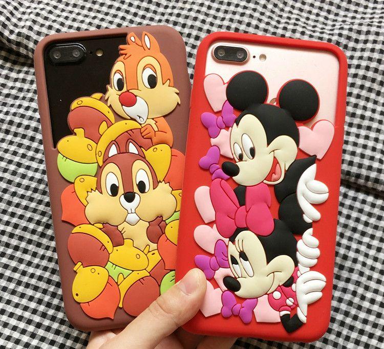 Nouveau Pour iPhone 7 plus Mignon Minnie Mickey Mouse Fundas Coque téléphone Cas Pour iPhone 6 s plus Chip Dale Pare-chocs Cas couverture