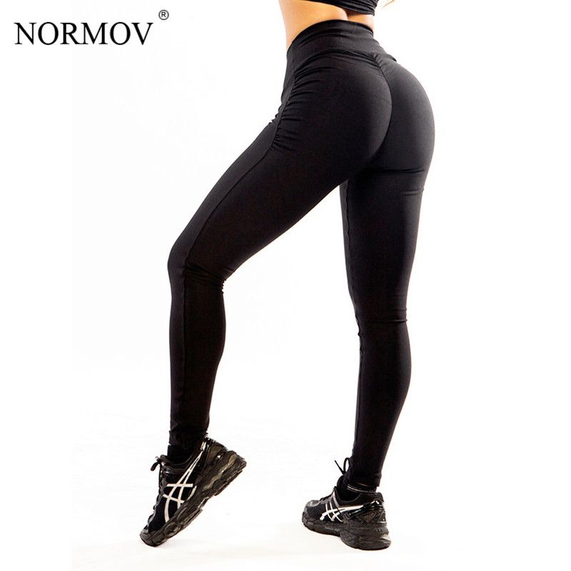 NORMOV S-XL Femmes Push Up Leggings Polyester Fitness Legging Grande Taille Noir Slim Jeggings Taille Haute Leggings Pantalon Femmes