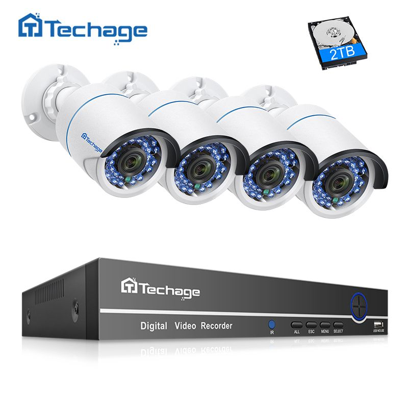 Techage 4CH 8CH 1080P 48V POE NVR CCTV System 1080P 2MP IR Outdoor Waterproof IP Camera P2P Video Security Surveillance Kit 2TB