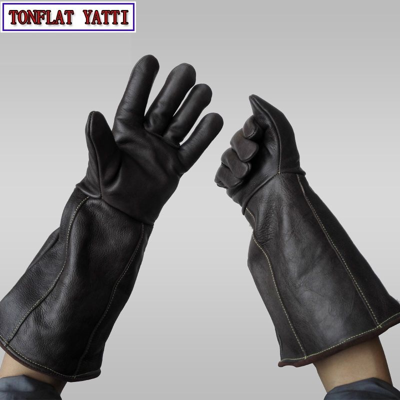 Anti-greifen Anti biss handschuhe 42 cm Winter Plus plüsch sicherheit lederhandschuhe plus dicke anti-reibung Haustiere ausbildung fütterung handschuh