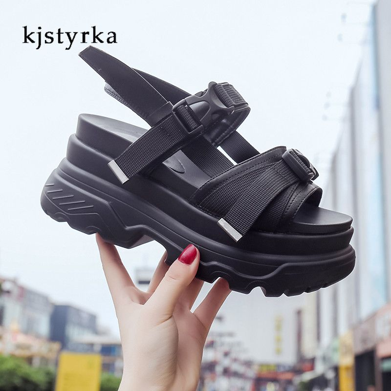 Kjstyrka Fashion Women Summer Sandals Wedges thick bottom Platform Slippers ladies walking shoes zapatillas chinelo sandalia