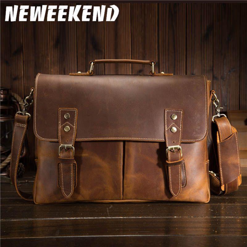 Men Oil Waxy Leather Antique Design Business Briefcase Laptop Document Case Fashion Attache Messenger Bag Tote Portfolio 9091