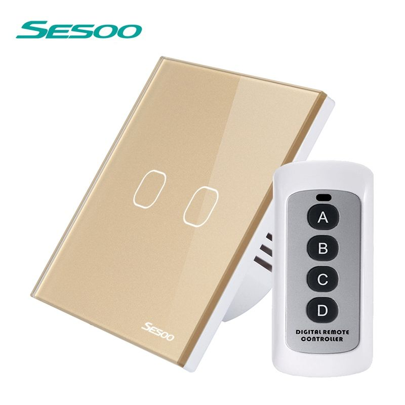 SESOO Wireless Remote Control Light Switches 2 Gang 1 Way The Switch of Touch Waterproof Crystal Glass Panel Switch with Remote
