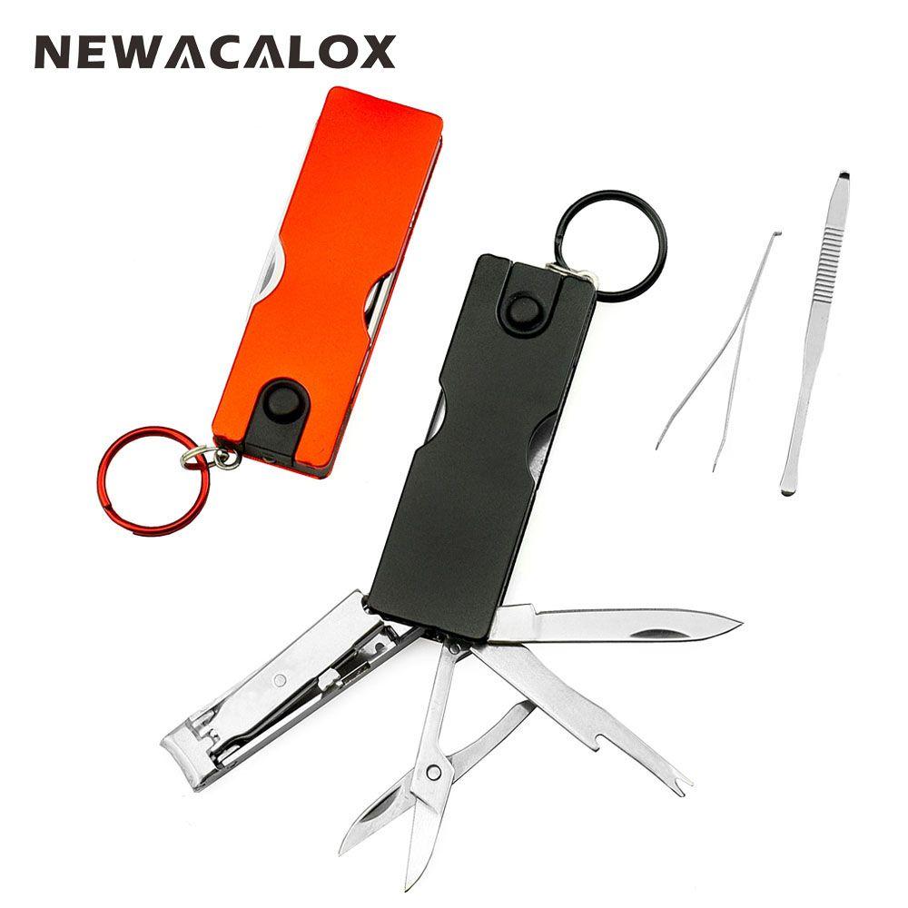 NEWACALOX Mini mode porte-clés couteau suisse LED lumières coupe-ongles Earpick ciseaux pince à épiler poche multifonction outils à main