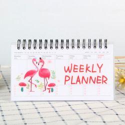Flamingo Weekly Planner Coil Notebook Agenda Jadwal Agenda untuk Anak-anak Hadiah Mini Kawaii Stationery 50 Sheets100Pages