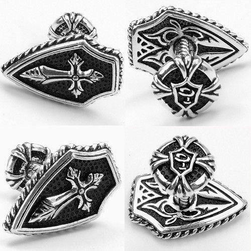 SPARTA Or Blanc Électrolytique Croix Boutons de Manchette hommes + Livraison Gratuite!!! métal boutons